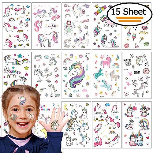 Vibury unicorno tatuaggi temporanei per bambini, 15 foglio tatuaggi finti temporanei adesivi 300+ motivi, regalo per festa di compleanno o bomboniera per le ragazze i bambine