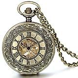 JewelryWe Retre Steampunk Römische Ziffern Handaufzug Mechanische Taschenuhr Skelett Uhr Pullover Halskette Kette für Damen Herren