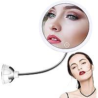 STLOVe Miroir cosmétique à LED avec 10 x Miroir grossissant 10 x avec ventouse et col de cygne flexible réglable à 360…