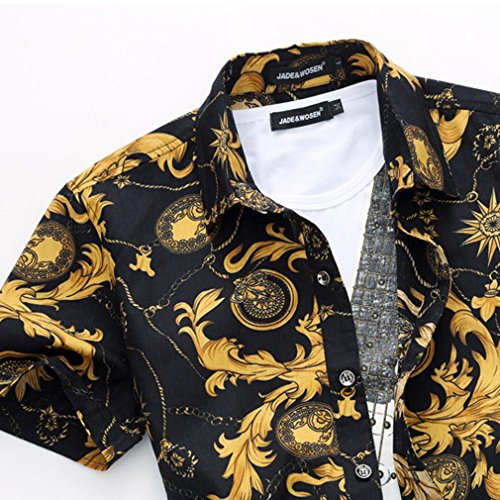 Honghu Herren Freizeit Blumen Kurze Ärmel Hemd Hawaii Shirts Gelb