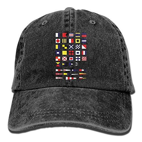 Nautical Alphabet Maritime Signal Flags, Sailing Navy Yachting Adult Unisex Cowboy Hat (Navy Signal Flags)