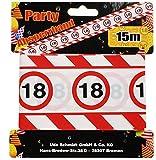 bb10 Schmuck 18. Geburtstag Deko Absperrband mit Verkehrsschild 18 Länge 15m Lang Dekoration Zum 18er Geburtstag Party Oder Andere Anlässe
