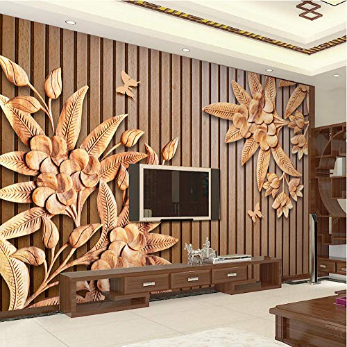 Neue Chinesischen Stil Holzschnitzerei 3D Relief Holzmaserung Streifen Tapete Braun Wohnzimmer Restaurant Wandbild Papier Wandverkleidung (Laden Tower Station)