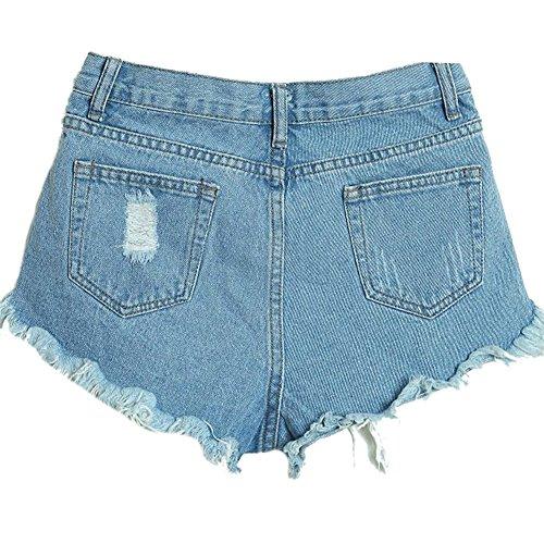 Pantaloncini Donna Bermuda Shorts Jeans Denim Hot Pants Azzurro Chiaro