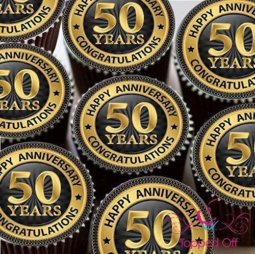 '15x 2(5cm) vorgeschnitten redondo Happy 50º aniversario comestibles Taza para tartas cabezales Decoración de Topped Off