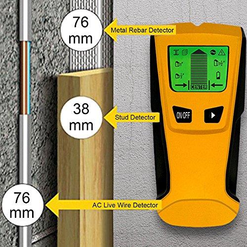 sunnymi 3 in 1 Wand Metall Kabel Detektor/Multi Detektor Bolzen Mitte Sucher Metallwechselstrom Livekabel Draht Scanner LCD/Dekoriere Dein Zuhause (Gelb, 3 Detektormodi)
