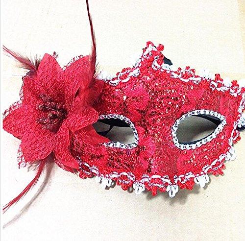 SHMGG Lady Elegante Eye Face Maske mit Feder Blume für venezianischen Masquerade Ball Halloween-Kostüm