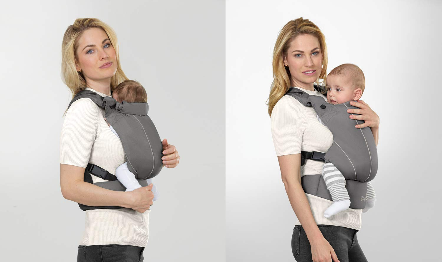"CYBEX Gold MAIRA.click Ergonomic Baby Carrier, From birth to approx. 2 years (approx. 3.5 - 15 kg), 100% Cotton, Manhattan Grey  Comfortable and versatile adjustable baby carrier: For ergonomic carrying and healthy hip development in babies - Suitable from birth to approx. 2 years (approx. 3.5 - 15 kg), Recommended by the ""International Hip Dysplasia Institute"" Quick and easy putting on/taking off due to practical buckle system, Individually and continuously adjustable, Optimum wearing safety due to safety buckle on the waist belt Width and height-adjustable belt for individual adaptability, Multi-functional head and neck support, Promotes healthy development of the joints through natural squat position 4"