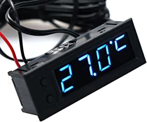 Cuigu 3 In 1 Multifunktions Uhr Hohe Präzision Uhr Innen Und Außen Der Fahrzeugtemperatur Akku Spannungsmessgerät 12 V Blau Küche Haushalt