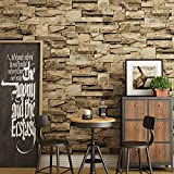 XIAOLI& Moderne Chinesische Stil 3D Stereoscopic Brick Wallpaper Pattern Simulation Ziegel Fliesen Kultur Stein Non-Woven Roll Wallpapers, Khaki