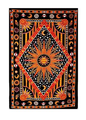 urbancharm- brennende Sonne, Mond, Planet & Star Tapisserie, Indian, indische Hippie Wandbehang/Schlafsaal, Trennwand, Picknick Decke, Strand Decke Tischdecke