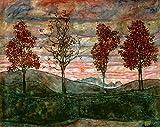 Kunstdruck/Poster: Egon Schiele Vier Bäume - hochwertiger Druck, Bild, Kunstposter, 50x40 cm