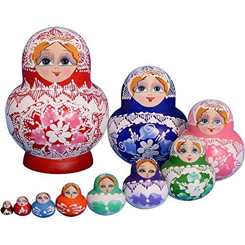 YAKELUS, marca profesional de Matrioska, Muñecas Rusas Matrioska 10 piece Madera Matrioska de Rusia de 10 capas, hecha a mano y por el tilo, es un juguete y un regalo