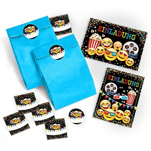 12 Einladungskarten Geburtstag Kinder Kino für Mädchen Jungen Jungs incl. 12 Umschläge, 12 Tüten, 12 Aufkleber Einladungen Kindergeburtstag Geburtstagseinladungen Set Partyset Kartenset Party