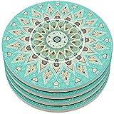 Kidac Getränke Untersetzer Wasseraufnahme Keramik Untersetzer mit schützender Korkunterlage - Mandala Stil (4 Stück 4 Zoll 10.3cm)