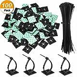 100 Stück Schwarz Kabelbinder Klebebefestigungen Selbstklebende Kabelklemme Basis Halter 1,1 x 1,1 Zoll mit Schwarz Mehrzweck Kabelbinder, 8 Zoll