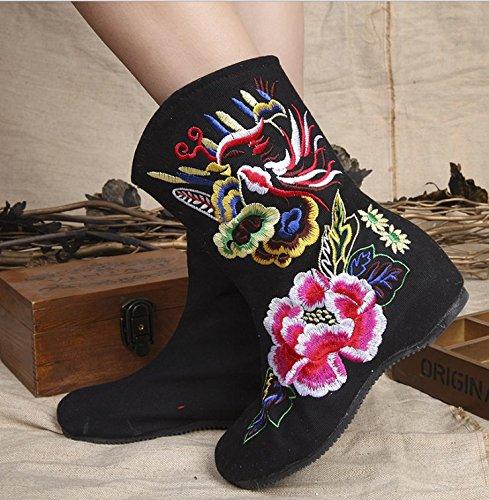 KAFEI Women's Short boot Hochzeit Schuhe Tuch innen erhöhen Baumwolle runder Kopf rutschfeste Atmungsaktiv, 40, Schwarz cashmere (Baumwoll-hochzeit-shorts)