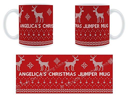 Angelica's Tasse Pull de Noël Motif renne Mug en céramique personnalisé Motif Chunky