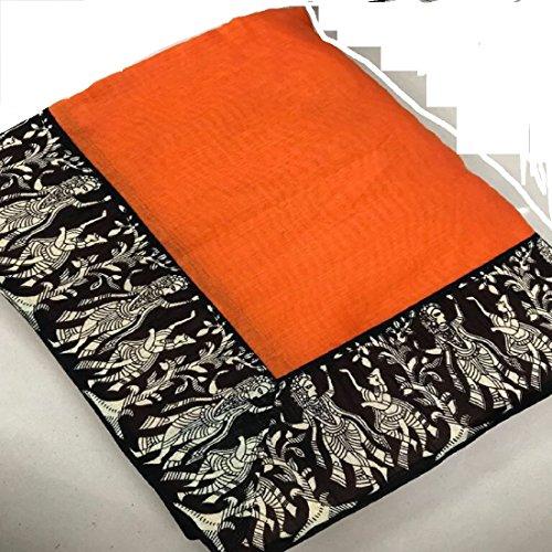 Rajeshwar Fashion Women's Cotton Saree With Blouse Piece (Radha Krishna Border Orange_Orange)