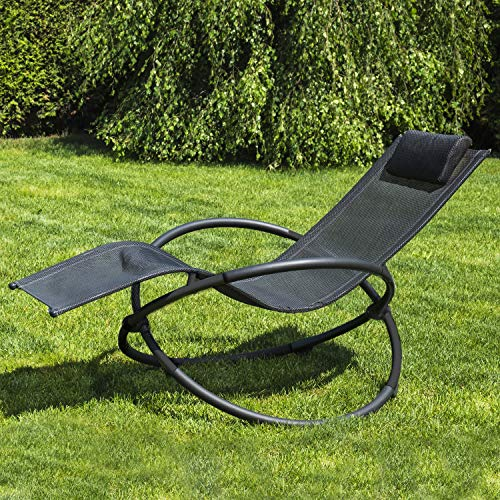 GardenKraft 19180 Louis Moon Rocker Sun Lounger | Garden Chair with Pillow | Powder Coated Steel | Zero Gravity Effect | Weatherproof, L 152 x W 78 x H 86cm