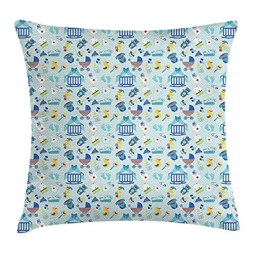 Moss Green Dot (Baby Throw Pillow Cushion Cover, Newborn Sleep Crescent Moon Pacifier Nursery Star Polka Dots Image, Decorative Square Accent Pillow Case, 18 X 18 inches, Pale and Violet Blue Yellow)