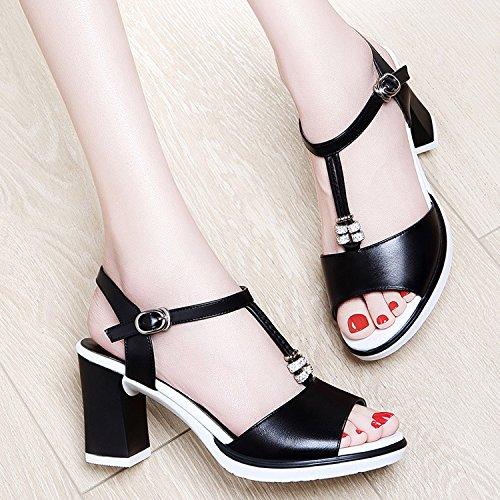 ZPPZZP La sig.ra sandali tacco alto stile occidentale porta poco profonda T schede con bold 37EU