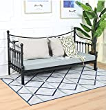 mecor Manila Metal Daybed and Trundle, Twin Size Daybed and Trundle, Multifunctional (Black, Without Trundle)
