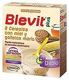 Blevit Plus Duplo 8 Cereales con Miel y Galletas Maria - Paquete de 2 x 300 gr - Total: 600 gr