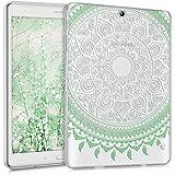 kwmobile Funda transparente para Samsung Galaxy Tab S2 9.7 carcasa de silcona TPU para tablet funda protectora con Diseño sol indio en menthe blanc transparent