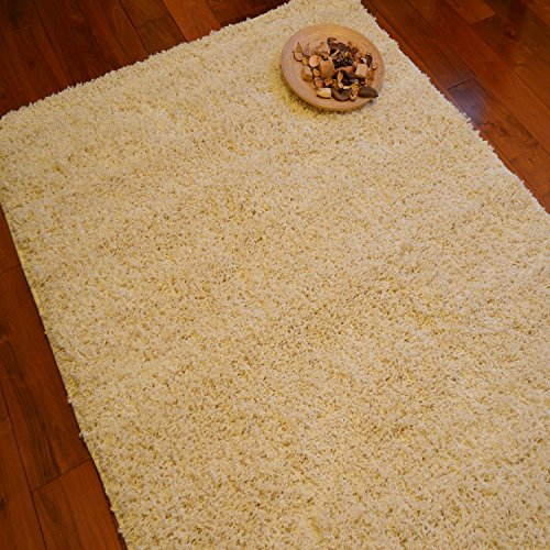 FunkyBuys® CREAM/IVORY Small Large XL Size Thick Plain Soft Shaggy Rugs Non Shed Modern High Pile 200 x 290cm (6ft 7