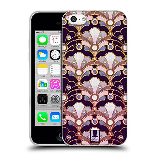 Head Case Designs Welle Marin Art Deco Soft Gel Hülle für Apple iPhone 5 / 5s / SE Seeperlen