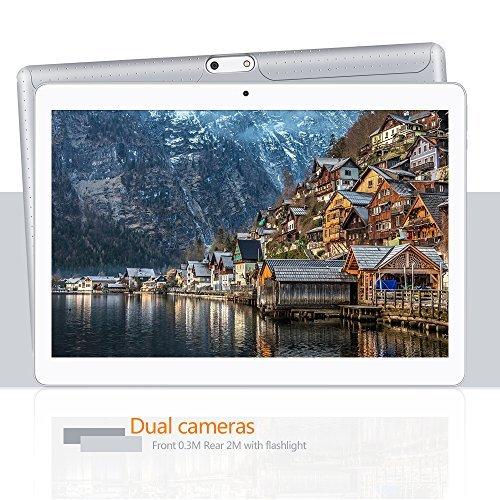 YUNTAB Tablet 10.1 Zoll Tablet Pc – 3G – Android 5.1 Lollipop – QUAD CORE-Telefonieren – GPS- Navigation – 1GB RAM – 16GB – Dual Kamera( Real Kamera 2 Mps) – Battery 5000 mhA – Bluetooth 4.0 (MSilber) - 4
