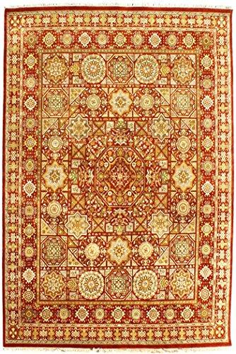 Arts of India indisch Handgeknüpft Jaipur/Orientalisch Handgefertigt Blumen Design Beige Wolle 8X10 Bereich Teppich (Wolle Bereich Teppiche 8x8)