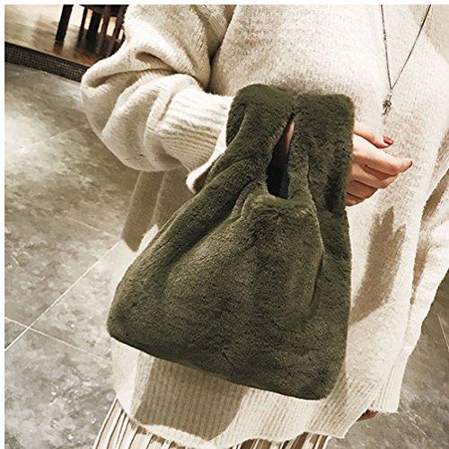 Vbiger schick Handtasche Fluffy Casual Tasche Trendy Einkaufstasche Ultra-weiche Clutch Bag Grün