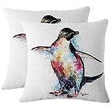 JOTOM Weiche Baumwolle Leinen Tier Gedruckt Dekokissen Fall Kissenbezug für Zuhause Dekorative Couch Sofa 45x45 cm Set von 2 (Pinguin)