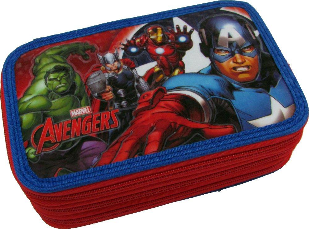 Estuche escolar de 3 cremalleras, Marvel Avengers original, 45 piezas