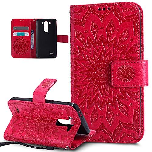 ikasus Coque LG G3 Mini Etui Embosser Gaufrage fleur soleil Housse Cuir PU Housse Etui Coque Portefeuille Protection supporter Flip Case Etui Housse Coque pour LG G3 Mini,rouge