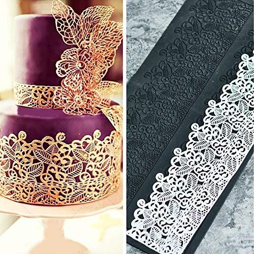 Molde de silicona para fondant, decoración de tartas, con diseño de encaje en relieve