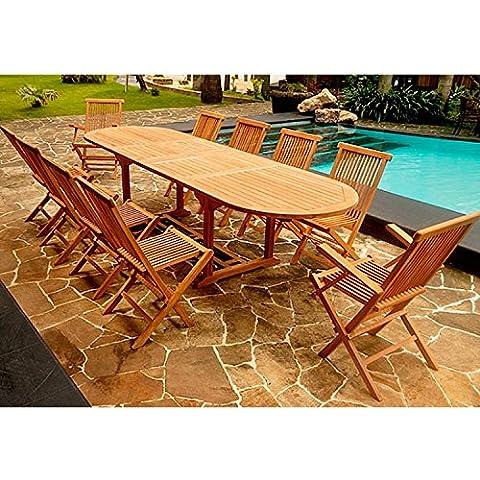El Morotai Max: salón de jardín (teca maciza: bandeja 10–12personas–mesa ovalada, 8sillas y