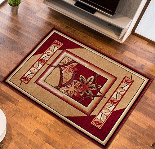 Designer Teppich Wohnzimmer Teppich Leaf Muster in Rot Preishammer + LÄUFER