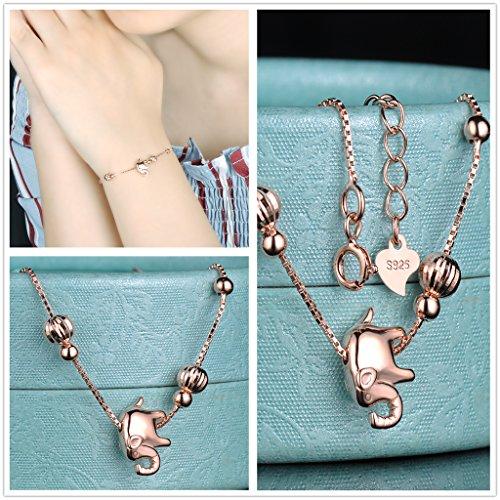 Yumilok Roségold 925 Sterling Silber Zirkonia Elefant Charm Armband Halskette Schmuck Set Armkette & Kette mit Anhänger Set für Damen Mädchen - 4