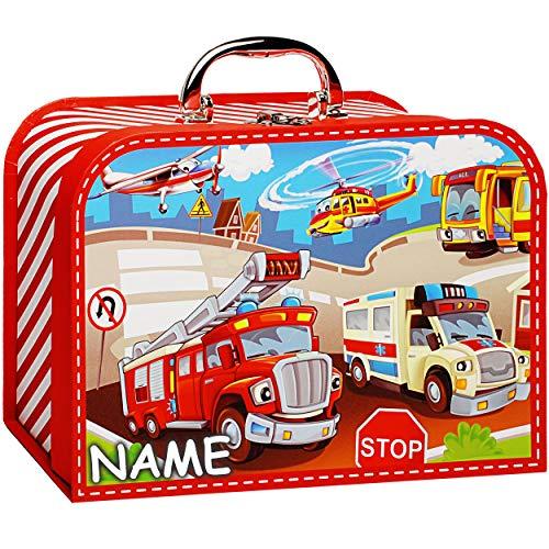 alles-meine.de GmbH Koffer / Kinderkoffer - GROß - Auto & Feuerwehr - inkl. Name - 26 cm - Pappkoffer - Puppenkoffer - Kinder - Pappe Karton - Fahrzeuge Verkehr Autos Krankenwage..