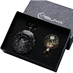 YISUYA Black Half Hunter Case Rome Number Dial Roman Numeral Pocket Watch with Chain Pendant Necklace Mens Boys Gift Box