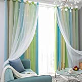 Goolsky Star Curtains Stars Blackout Curtains for Kids Girls Bedroom Living Room Colorful Double Layer Star Window Curtains,