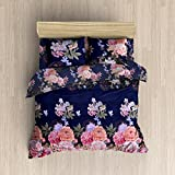 #8: HFI 160 TC Polycotton Double Bedsheet with 2 Pillow Covers - Floral, Blue