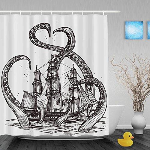 ines Tintenfischs, Dekoration für den Duschvorhang im Badezimmer, Wasserdicht, schimmelfest, farbbeständiges Polyester - 152,4x 182,9cm Zoll, weiß, Multi3, 72