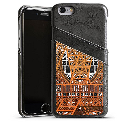 Apple iPhone 5 Housse étui coque protection Paris Tour Eiffel Motif Étui en cuir gris