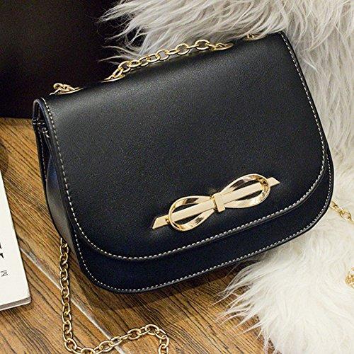 PU Ledertasche Damen Bowknot umhängetasche Handtasche Satchel Messenger Purse Tasche Schwarz Schwarz