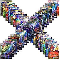 Forwei 100 carte Pokemon da 100 pezzi, carta iniziale Compreso Carta stile TCG Holo EX Full Art 59 EX Cards 20 Mega EX Cards 20 GX Cards 1 Energy Card