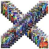 Tingtin 100 Pcs Pokemon Cartes Carte de Jeu Complet de Style TCG Avec 59 Cartes EX, 20 Cartes Méga EX, 20 Cartes GX, 1 Carte Énergie, pour la Famille Collection